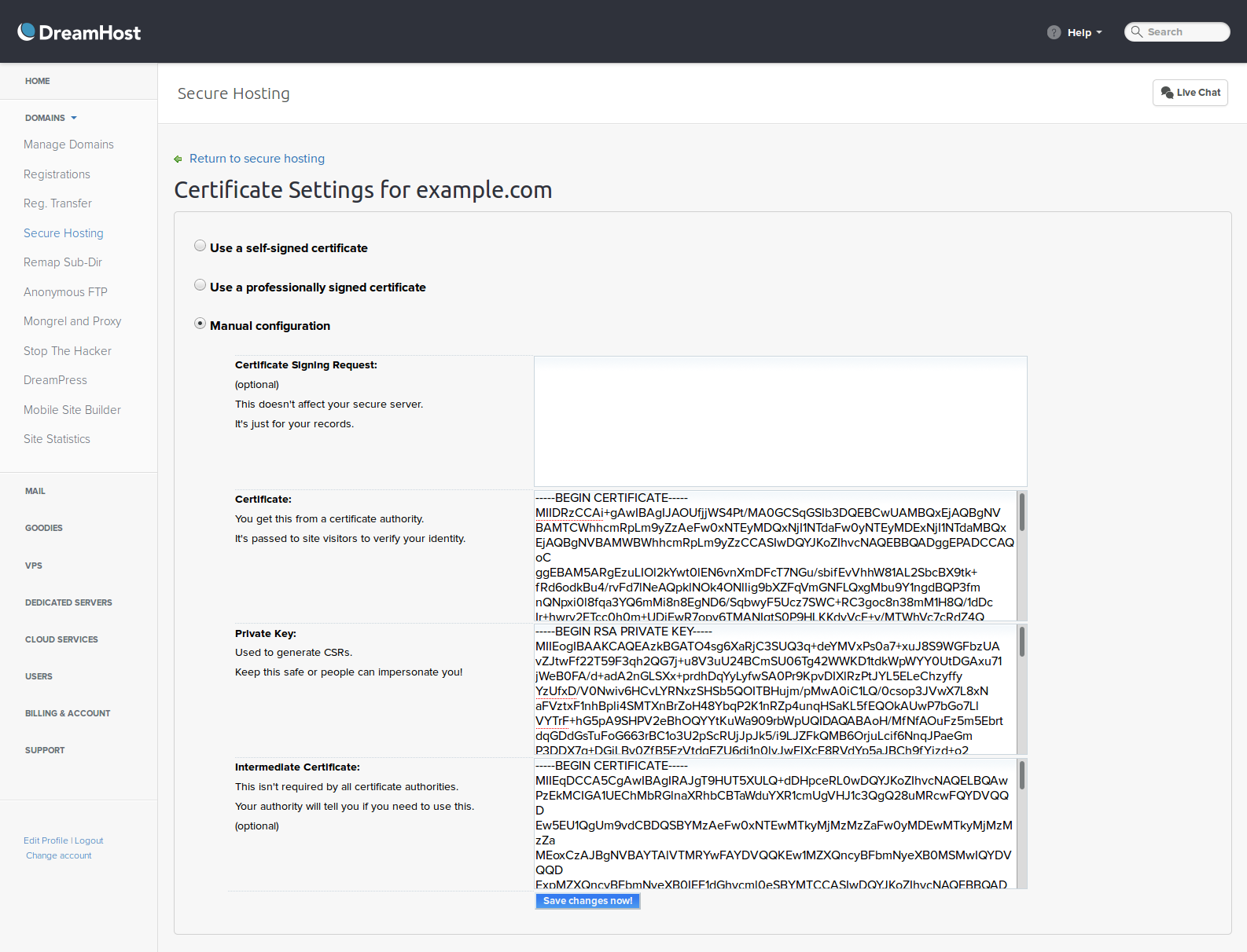 Use lets encrypt to add an ssl certificate to your dreamhost dreamhost manual ssl configuration panel detail xflitez Image collections